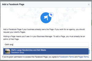 adding your business page into your facebook manager