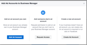 create a new ad account in facebook manager