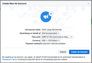 create a new add manager in facebook manager tool
