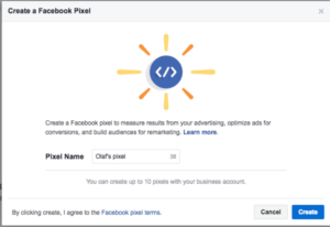facebook pixel creating into your facebook manager tool